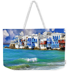 Waterfront At Mykonos Weekender Tote Bag