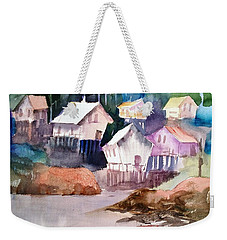 Waterfront Cabins Weekender Tote Bag by Larry Hamilton