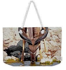 Weekender Tote Bag featuring the digital art Waterhole Kudu by Ernie Echols