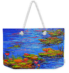 Weekender Tote Bag featuring the painting Waterlily Pond - Lily Pads In A Morning Light - Modern Impressionist Knife Palette Oil Painting by Patricia Awapara