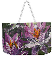 Weekender Tote Bag featuring the painting Waterlilly by Chris Hobel