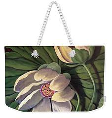 Waterlily Like A Clock Weekender Tote Bag by Randy Burns