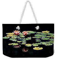 Weekender Tote Bag featuring the painting Waterlily Panorama by Marilyn Smith