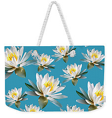 Weekender Tote Bag featuring the mixed media Waterlily Pattern by Christina Rollo