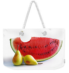 Watermelon And Pears Weekender Tote Bag by Carlos Caetano