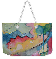 Weekender Tote Bag featuring the digital art Watery Abstract by Susan Stone