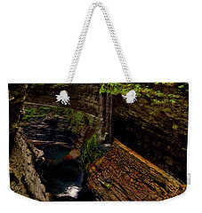 Watkins Glen State Park - Rainbow Falls 003 Weekender Tote Bag by George Bostian