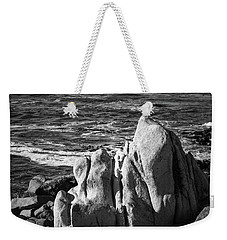Weekender Tote Bag featuring the photograph Wave Blowing By The Stong Wind At Th Pacific Ocean Coast With Ro by Jingjits Photography