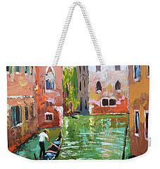 Wave Under The Oars Of The Gondola, City Scene. Weekender Tote Bag