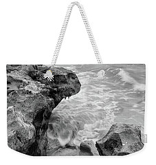 Waves And Coquina Rocks, Jupiter, Florida #39358-bw Weekender Tote Bag