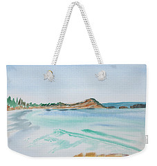 Weekender Tote Bag featuring the painting Waves Arriving Ashore In A Tasmanian East Coast Bay by Dorothy Darden