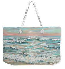 Weekender Tote Bag featuring the painting Waves At Dusk by Linda Olsen