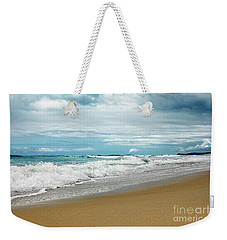 Weekender Tote Bag featuring the photograph Waves Clouds And Sand By Kaye Menner by Kaye Menner