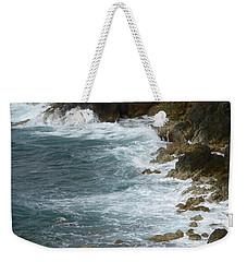 Waves Lashing Rocks Weekender Tote Bag