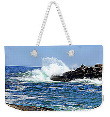 Waves  On Rocks Weekender Tote Bag