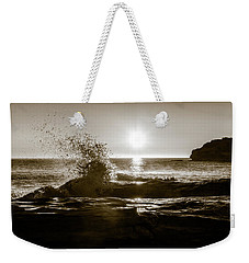 Weekender Tote Bag featuring the photograph Waves Over Cavendish Sandstone by Chris Bordeleau