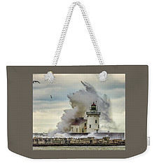 Waves Over The Lighthouse In Cleveland. Weekender Tote Bag