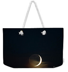 Weekender Tote Bag featuring the photograph Waxing Crescent Moon With Jupiter And Moons by Ricky L Jones