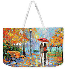 Weekender Tote Bag featuring the painting We Met In Park          by Dmitry Spiros