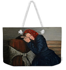 Weekender Tote Bag featuring the painting Weary Traveler by Sandra Nardone