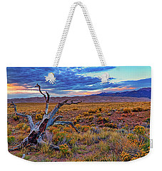 Weekender Tote Bag featuring the photograph Weathered Wood And Dunes - Great Sand Dunes - Colorado by Jason Politte