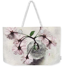 Weekender Tote Bag featuring the photograph Weeping Cherry Blossoms Still Life by Louise Kumpf