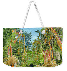 Weekender Tote Bag featuring the painting Weeping Janur Bali Indonesia by Melly Terpening