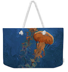 Weekender Tote Bag featuring the painting Weightless - Pacific Nettle Jellyfish Study  by Karen Whitworth