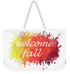 Weekender Tote Bag featuring the painting Welcome Fall Watercolor by Irina Sztukowski