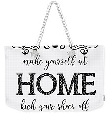 Weekender Tote Bag featuring the digital art Welcome Home-b by Jean Plout