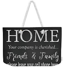 Weekender Tote Bag featuring the digital art Welcome Home-e by Jean Plout