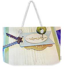 Welcome New Baby Handmade Stationary Weekender Tote Bag by Vizual Studio