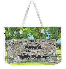 Weekender Tote Bag featuring the painting Welcome Sign Fort Sill by Betsy Hackett