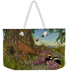 Weekender Tote Bag featuring the digital art Welcome Spring by Methune Hively