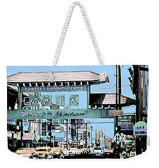 Welcome To Chinatown Sign Blue Weekender Tote Bag by Marianne Dow