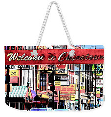 Weekender Tote Bag featuring the photograph Welcome To Chinatown Sign Red by Marianne Dow