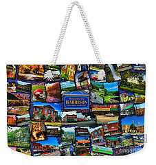 Weekender Tote Bag featuring the digital art Welcome To Harrison Arkansas by Kathy Tarochione