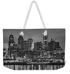 Welcome To Penn's Landing Bw Weekender Tote Bag by Susan Candelario