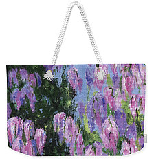 Weekender Tote Bag featuring the painting Wendy's Wisteria by Jamie Frier