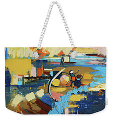 Weekender Tote Bag featuring the painting West End Blues by Erin Fickert-Rowland