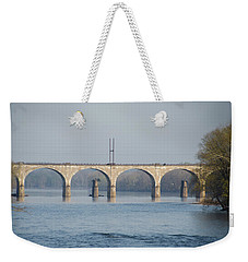 Weekender Tote Bag featuring the photograph West Trenton Railroad Bridge Trenton Nj And Yardley Pa by Bill Cannon