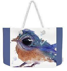 Weekender Tote Bag featuring the painting Western Bluebird by Dawn Derman