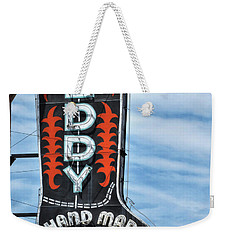 Weekender Tote Bag featuring the photograph Western Boot Sign by David and Carol Kelly