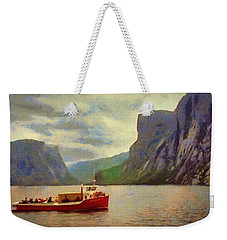 Weekender Tote Bag featuring the painting Western Brook Pond by Jeff Kolker