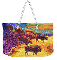 Western Buffalo Art Bison Creek Sunset Reflections Painting T Bertram Poole Weekender Tote Bag by Thomas Bertram POOLE