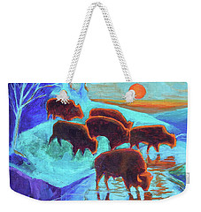 Western Buffalo Art Six Bison At Sunset Turquoise Painting Bertram Poole Weekender Tote Bag by Thomas Bertram POOLE