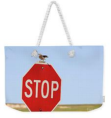 Western Meadowlark Singing On Top Of A Stop Sign Weekender Tote Bag