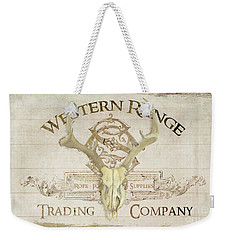 Weekender Tote Bag featuring the painting Western Range 3 Old West Deer Skull Wooden Sign Trading Company by Audrey Jeanne Roberts