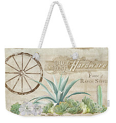 Weekender Tote Bag featuring the painting Western Range 4 Old West Desert Cactus Farm Ranch  Wooden Sign Hardware by Audrey Jeanne Roberts
