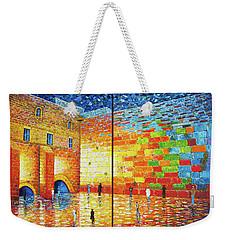Western Wall Jerusalem Wailing Wall Acrylic Painting 2 Panels Weekender Tote Bag